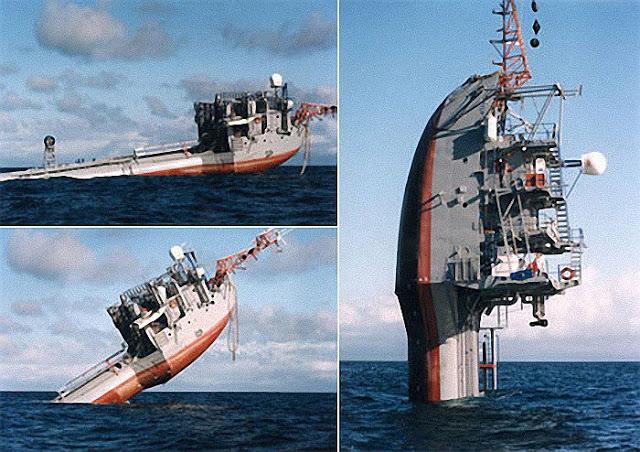 هل تصدق أن سفينة تبحر رأسيا في المحيطات تزن 700 طن..